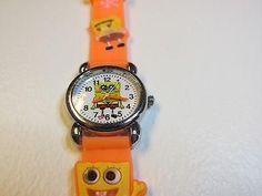 Orange Spong Bob Children Boy Girl Cartoon PVC Band Quartz Wrist watch Toy 330
