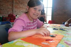 Creating jewelry during Summer Creativity Camp!