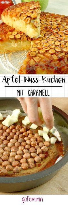 Kuchen Rezept mit Haselnüssen, Äpfeln und Karamell!