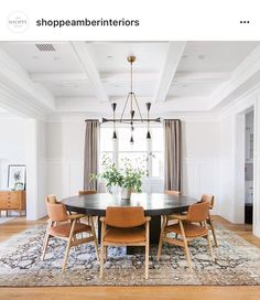 Round Dining Table - Mid Century Modern - Dining Room Design - From Shoppe Amber Interiors on Inst. Mid Century Modern Dining Room, Midcentury Modern Dining Table, Mid Century Dining Table, Classic Dining Room, Table Design, Dining Room Design, Dining Rooms, Chair Design, Dining Room Inspiration