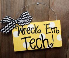 Georgia Tech Wreck Em polka dot sign. $12.00, via Etsy.