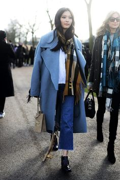 Blue statement coat, cropped jeans, oversized scarf Clothing, Shoes & Jewelry - Women - women's dresses casual -