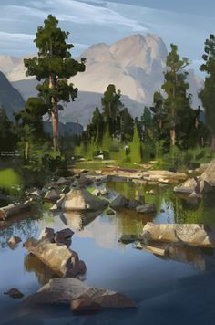 Forest and lake illustration landscape art Landscape Concept, Fantasy Landscape, Landscape Art, Landscape Paintings, Fantasy Art, Environment Painting, Environment Concept, Environment Design, Landscape Drawings