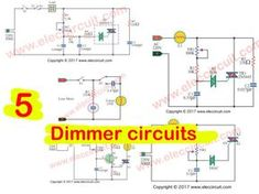 The AC light dimmer circuit can control light bulb or speed AC motor, we use a TRIAC and SCR as main, and adjust potentiometer and switch. Ac Circuit, Ac Fan, Dim Lighting, Electrical Engineering, Electronics Projects, Circuits, Light Bulb, Lights, Simple