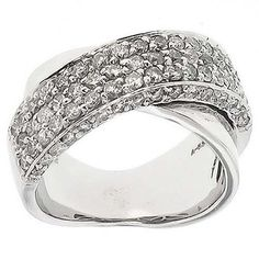 1.40 Cttw Round Brilliant Cut Diamond Cocktail Ring in 14K White Gold by GetDiamondsDirect on Etsy