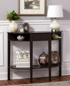 Half Moon Entryway Console Table with Drawer Dark Walnut Gray Distressed White - Table - Ideas of Table Half Moon Console Table, Half Moon Table, Half Table, Console Shelf, Entryway Console Table, Table Set Up, Entryway Decor, Hall Furniture