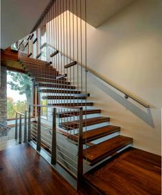 Wood and metal industrial staircase