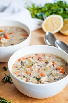 Chicken Wild Rice Soup with Lemon & Herbs