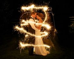 We're doing the sparkler exit... Would like to have a photo like this maybe right before we exit through the sparklers, have someone run around us with sparklers
