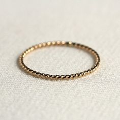 One Solid 14k Gold Rope Knuckle Midi Thread Ring - Tiny Twist Textured Stacking Ring - Delicate Jewelry - Memory Ring