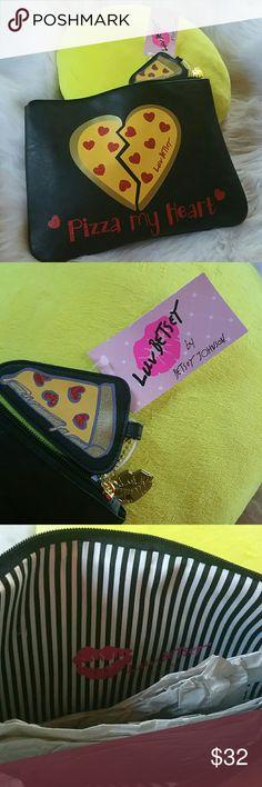 "Selling this BETSEY JOHNSON - "" PIZZA MY HEART"" BNWT on Poshmark! My username is: apriljerseygirl. #shopmycloset #poshmark #fashion #shopping #style #forsale #Betsey Johnson #Handbags"