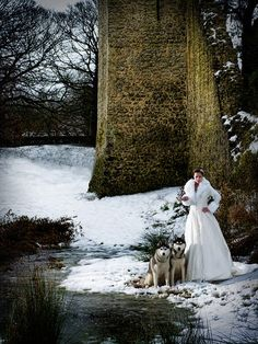 Badass winter bride with Huskies and faux fur coat. Okay...this is pretty sick.