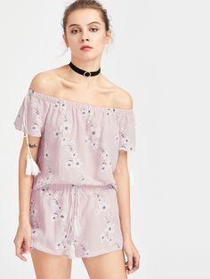 Shop Tasseled Tie Blossom Bardot Top And Shorts Set online. SheIn offers Tasseled Tie Blossom Bardot Top And Shorts Set & more to fit your fashionable needs.