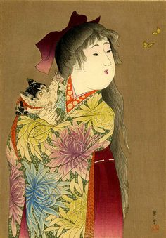Young girl with a cat woodblock prints reproductions by ArtPink