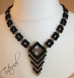 Beading pattern Geometry Necklace English por EnvyBeadwork en Etsy