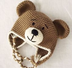 Earflap Teddy Bear Hat Crochet Pattern, Toddler Hat, Baby Winter Hat Pattern, from LovelyBabyGift on Etsy. Crochet Bear Hat, Crochet Animal Hats, Crochet Baby Hat Patterns, Crochet Dolls, Baby Patterns, Knit Baby Hats, Crochet Toddler Hat, Booties Crochet, Easy Crochet