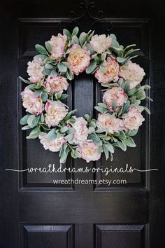 Beautiful spring wreath with peony and lambs ear.