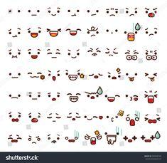 Collection of cute lovely emoticon emoji Doodle cartoon face , smile , happy , sad , shock , bored , sick , vomit , scream , joy , cry in childlike manga cartoon style - Vector file EPS10