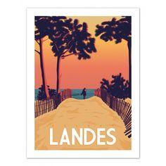 """Poster """"Secret Landes"""" - Master Travel Poster Size 50 cm x 70 cm Vintage Travel Posters, Vintage Postcards, Poster Vintage, Tourism Poster, Beach Posters, Marcel, Surfing Pictures, Kunst Poster, Poster Design"""