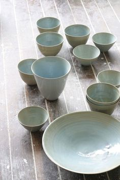 celedon ceramic bowls: we have quite a few of these, of our own creation.