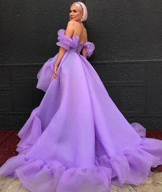 by Dona Matoshi. Shop for beautiful Gowns at Dona Matoshi. Discover a fabulous selection of dresses. Pretty Prom Dresses, Backless Prom Dresses, Elegant Dresses, Cute Dresses, Prom Gowns, Light Purple Dresses, Purple Gowns, Wedding Dresses, Gala Dresses
