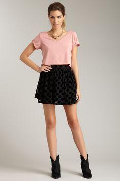 Polka dot skirt, cropped tee & boots