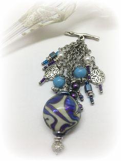 lampwork glass beaded pendant necklace 1158d
