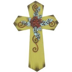 So pretty!!  Yellow Green Wall Cross with Flower and Swirls | Shop Hobby Lobby