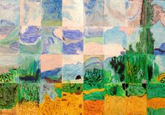 """1st Grade Masterpiece Mosaic of """"Wheatfield with Cypresses"""" by Vincent Van Gogh"""