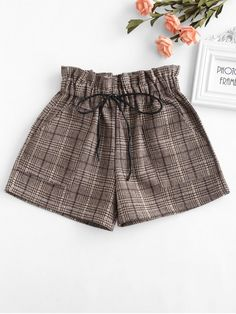 Elastic Waist Plaid Shorts - KHAKI LYou can find Floral shorts and more on our website.Elastic Waist Plaid Shorts - KHAKI L Tankini With Shorts, Romper With Skirt, Teen Fashion Outfits, Trendy Outfits, Cute Outfits, Girls Crop Tops, Curvy Women Fashion, Trendy Fashion, Fashion Brands