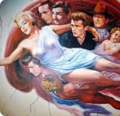Marilyn Monroe and friends in heaven Marilyn Monroe Artwork, Marilyn Monroe Tattoo, Marilyn Monroe Quotes, Marylin Monroe, Cinema Tv, Idole, Norma Jeane, James Dean, Caricatures