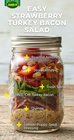 Minus the strawberries--- Easy Strawberry Turkey Bacon Salad Mason Jar Lunch, Mason Jar Meals, Meals In A Jar, Mason Jars, Salad In A Jar, Soup And Salad, Healthy Snacks, Healthy Eating, Healthy Recipes