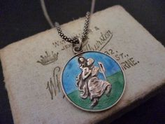 "A stunning enamel St Christopher pendant necklace - 925 - Sterling silver - 18"" necklace - Blue & green - Vintage by MalvernJewellery on Etsy"
