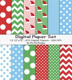 Christmas Digital Paper Pack For Digital Scrapbooking