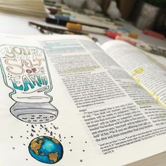 """You are the salt of the earth...the light of the world...a city on a hill...let your light shine before others, so they may see your good works and give glory to your Father who is in heaven."" #thejoyfuljournal #biblejournalingcommunity #scripturejournaling #biblejournaling #illustratedfaith"
