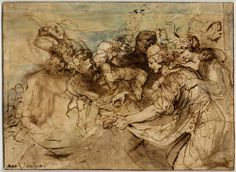 Van Dyck Bacchanal; two bearded men at l urging forward two women at r, one of them holding grapes, other figures behind Pen and brown ink, with brown and blue wash Verso: Slight sketches for reclining figures, overcome by wine Pen and brown ink