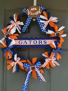 University of Florida wreath with monogrammed door by joelybun, $45.00