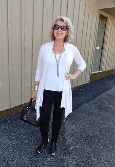 """""""Sometimes leggings, a cardigan, and a tank are all you need to look polished and put together..."""" 