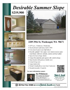 Real Estate For Sale: $219,900-3 Bedroom, 1.5 Bath, 1275 SF Desirable One Level Updated Summer Slope Home on .24 Acre Lot in Washougal, WA! Thanks for sharing Joe Wilkinson, John L. Scott Vancouver Office!  #RealEstate #ForSaleRealEstate #RealEstateForSale #WashougalRealEstate #RealEstateWashougal #SummerSlopeRealEstate  #RealEstateSummerSlope #DesirableSummerSlopeRealEstate #RealEstateDesirableSummerSlope #OneLevelRanchRealEstate #RealEstateOneLevelRanch #QuarterAcre #TerritorialView