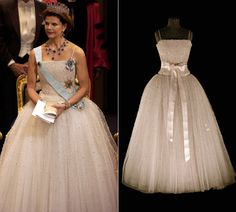 Swedish royal wedding dress exhibition – by Janet Carr @ Queen Silvia at the Nobels 2001 and her dress on a mannequin.