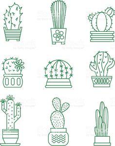 Conjunto de iconos de vector de cactus illustracion libre de derechos libre de derechos