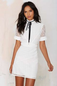 Nasty Gal Bardot Crochet Lace Dress - Dresses