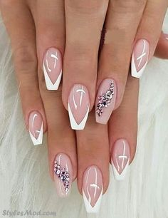 Classy French Nails With Rhinestones Elegant Nails Ideas To Look Radiant Forever And Always; Cute Acrylic Nails, Cute Nails, Pretty Nails, Elegant Nails, Stylish Nails, Elegant Nail Designs, Bride Nails, Wedding Nails, Perfect Nails