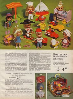 Liddle Kiddles!!!  1966 JCPenney page 229 These are the original ones. I had all but two--Calamity Jiddle and Babe Biddle. Think that's their names. The rocking horse and the car ones.