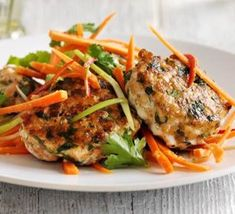 Thai salmon cakes with carrot salad recipe - Recipes - BBC Good Food
