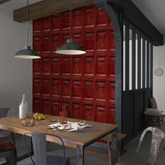 Laissez-vous surprendre par ce beau trompe-l'oeil POST OFFICE !   Cet intissé revêt vos murs de boîtes aux lettres rouge brique. Il crée une ambiance industrielle, très originale et tendance !