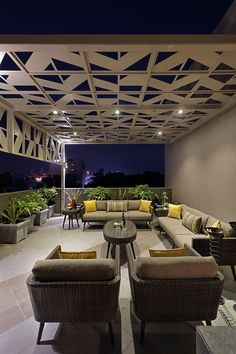 Nirat: A Modern House Deeply Rooted in Geometric Elements - dress your home - be. - Nirat: A Modern House Deeply Rooted in Geometric Elements – dress your home – best interior des - Interior Design Blogs, Home Design, Best Modern House Design, Interior Colors, Interior Plants, Design Ideas, Rooftop Terrace Design, Terrace Garden Design, Balcony Design