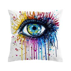 Rainbow Eye Pillow Case Rainbow Water, Rainbow Eyes, Couch Pillows, Watercolor Tattoo, Pillow Cases, Tapestry, Artist, Artwork, Painting