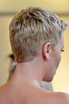 The back of Charlize Theron's short haircut