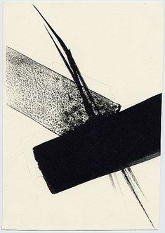 "Shinoda, Toko (b. ""(Untitled) Lithograph with Black Sumi-e Brushstrokes"" Abstract Watercolor Art, Abstract Wall Art, Black And White Abstract, White Art, Composition Art, Tinta China, Japan Art, Land Art, Minimalist Art"
